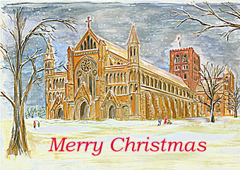 christmas card of st albans abbey