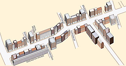 3D drawings of shops and office buildings