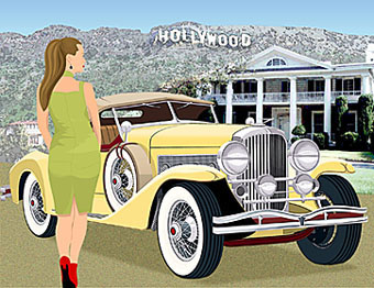 artwork illustrating hollywood duesenberg
