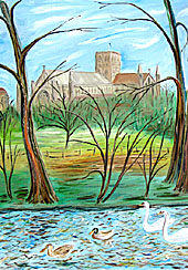 oil painting of st albans abbey