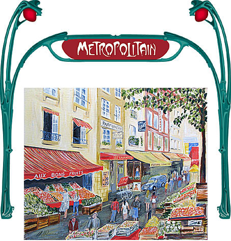 illustration of paris market and metro entrance sign
