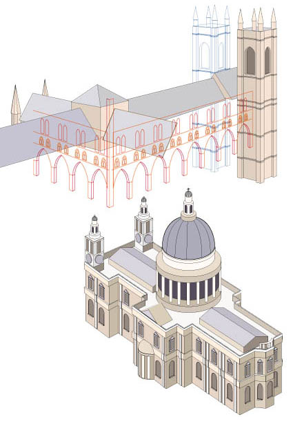 Drawings of London cathedrals