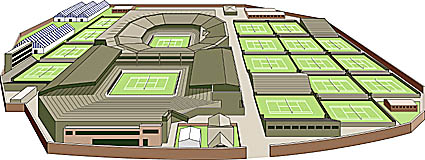 3D drawing of Wimbledon tennis grounds